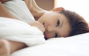 girl, brunette, model, Japanese, in bed