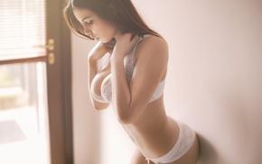 sideboob, white bra, girl, lingerie, white panties, cleavage