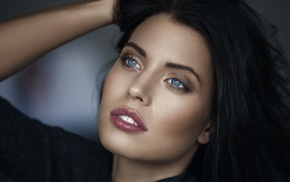 girl, Sarah Anessa Hitzschke, depth of field, portrait, blue eyes, brunette