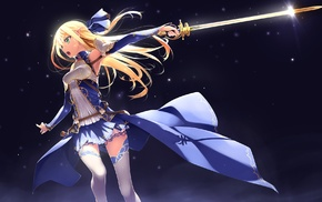 pointed ears, sword, original characters, green eyes, blonde, anime