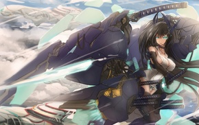 weapon, sword, anime girls, original characters, black hair, anime