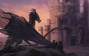 artwork, fantasy art, castle, dragon