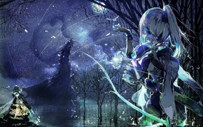 ponytail, anime girls, original characters, anime, quiver, bow and arrow