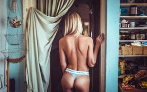 back, Sara Jean Underwood, Calvin Klein, underwear, ass, blonde