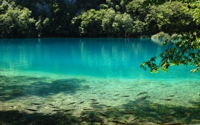 nature, water, trees, photography, Plitvice Lakes National Park, lake