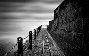sea, photography, stones, chains, fence, monochrome