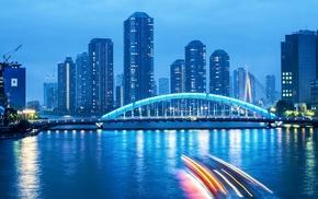 bridge, city, photography, river, urban, night