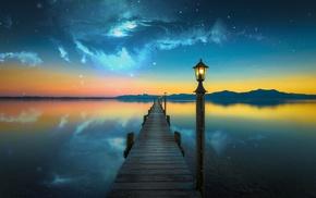 evening, lake, water, nebula, space, photo manipulation