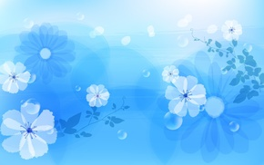 blue, drawing, flowers