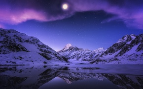 snow, moonlight, reflection, stars, evening, Moon