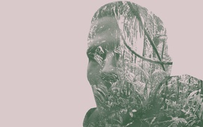 Photoshop, people, nature, tropical forest, double exposure, purple