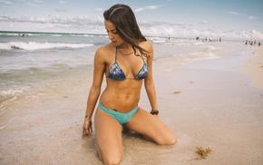 sand, kneeling, girl, bikini, pierced navel, sea