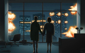 movies, explosion, Fight Club, artwork, holding hands