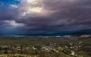 clouds, long exposure, lights, winter, sea, snow
