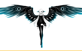 wings, black dress, angel, white hair