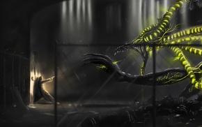 fantasy art, green, warrior, dragon