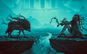 blue, plants, wolf, fantasy art, girl