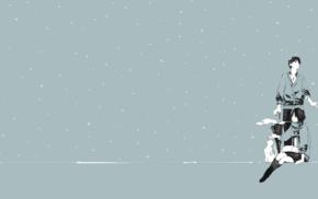 winter, couple, original characters, smoking, snow