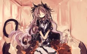closed eyes, original characters, nekomimi, anime girls, dress