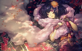 gloves, black hair, original characters, anime girls, fantasy art