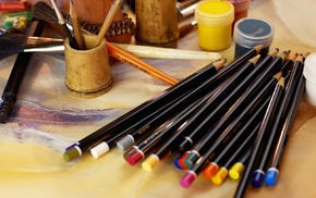 tools, pencils, paintbrushes