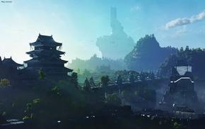city, ship, mountains, temple, science fiction