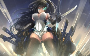 sword, black hair, weapon, original characters, thigh, highs
