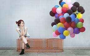 Asian, balloon, girl, model