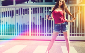 long hair, girl, straight hair, depth of field, legs, tank top
