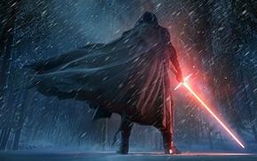 Star Wars The Force Awakens, Kylo Ren, Star Wars, digital art, lightsaber, Sith
