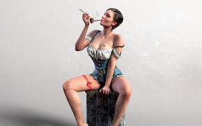 girl, smoking pipe, The Witcher 3 Wild Hunt, sitting, short hair, looking at viewer
