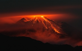 volcanic eruption, nature, Ecuador, volcano, orange, night