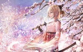 Fate Series, short hair, katana, anime girls, sword, Saber