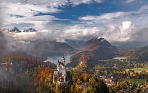 Germany, mountains, landscape, castle, Neuschwanstein Castle