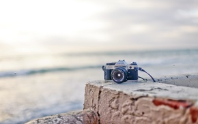 sea, depth of field, camera, shore, Canon