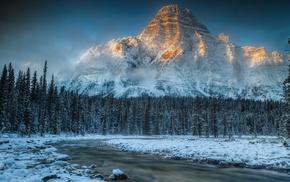snow, Mount Chephren, river, ice, winter, stream