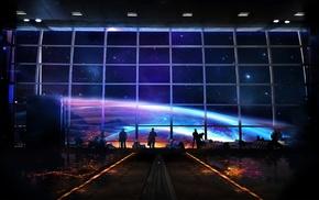 universe, space, stars, people, spaceship, planet