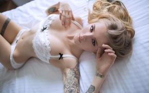 tattoo, legs together, pierced navel, white panties, girl, lingerie