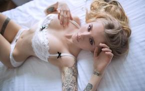 tattoo, legs together, pierced navel, white panties, girl, lingerie