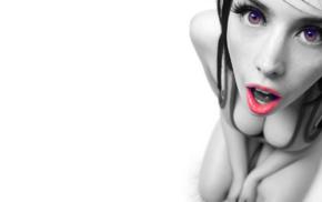 face, Louisa Lockhart, cleavage, selective coloring, big boobs, looking at viewer