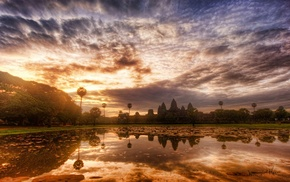 pond, Cambodia, water, sky, World Heritage Site, nature