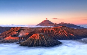 Indonesia, landscape, nature, mountains, volcano, clouds