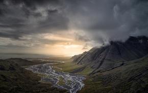 sunset, river, valley, Iceland, clouds, landscape