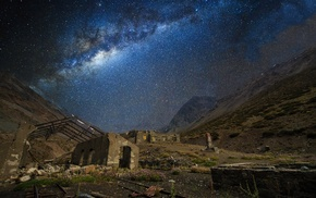 train station, nature, galaxy, landscape, abandoned, mountains