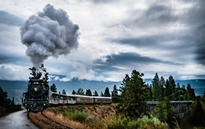 mountains, landscape, clouds, machine, train, nature