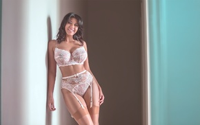 lingerie, stockings, girl, bra, big boobs, white lingerie