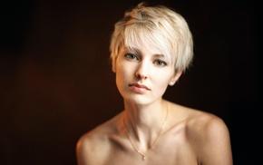 girl, face, short hair, portrait, blonde, model