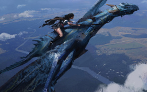 aerial view, dragon, flying