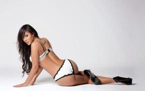 high heels, Andrea Ballesteros, girl, white panties, model