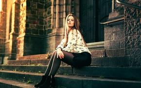 sitting, girl, pantyhose, stairs, model